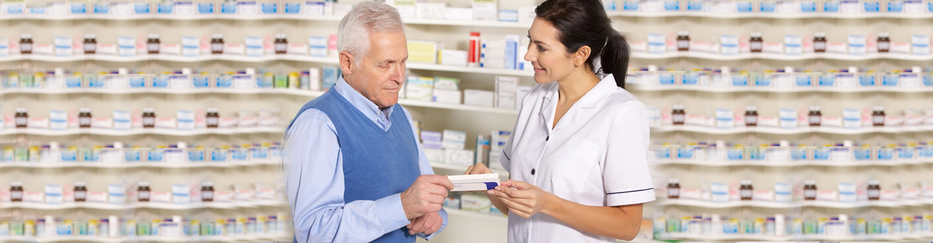 a patient getting his medication from the pharmacist