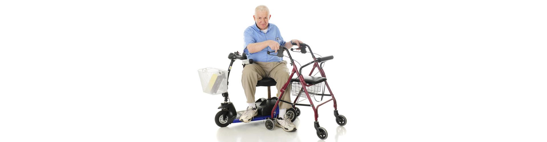 senior man sitting on power scooter
